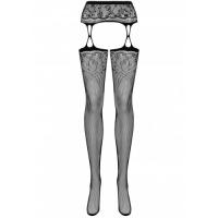 Сексуальные черные чулки с широким поясом и цветочным мотивом S/L
