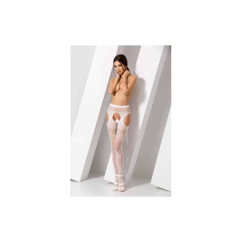 Белые секси колготки сетка с доступом S022