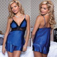 Очаровательные сорочка и шортики синие L