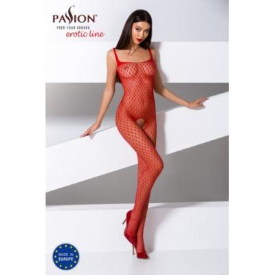 Сексуальный красный комбинезон-сетка с пикантным вырезом S/L