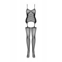 Сексуальный боди-комбинезон с имитацией корсета и чулок S/L