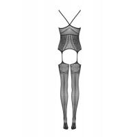 Черный боди-комбинезон с нежным цветочным узором S/L