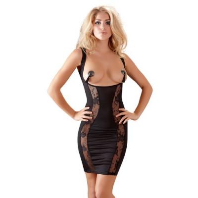 Черное платье с вырезом на груди L