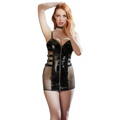 Черное лаковое мини-платье Vinyl Dress XL