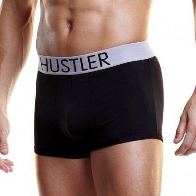 Черные мужские боксеры Hustler на широкой резинке из микрофибры L