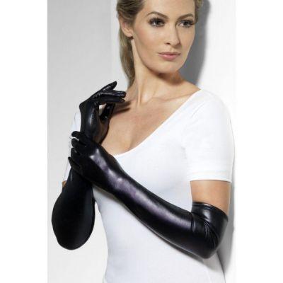 Черные перчатки госпожи Wet look
