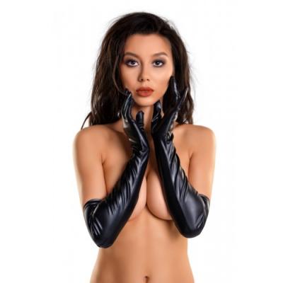 Черные перчатки Glossy из материала Wetlook выше локтя размер M