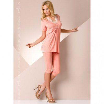 Ночная пижама персикового цвета с кружевом M
