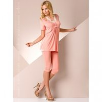 Ночная пижама персикового цвета с кружевом L