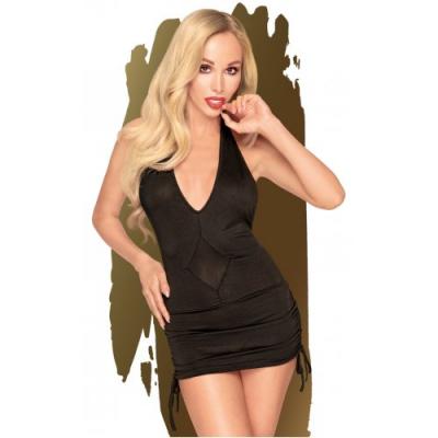 Черное мини-платье со стрингами Penthouse Earth-Shaker M/L