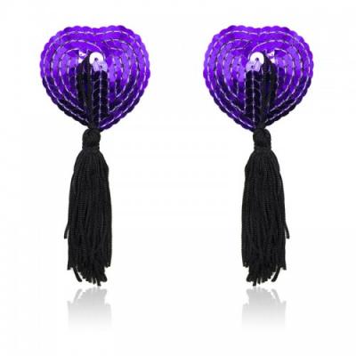 Черно-фиолетовые пэстисы для груди с пайетками