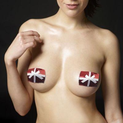 Пэстисы для груди Reusable Christmas Sequin Square Nipple Pasties