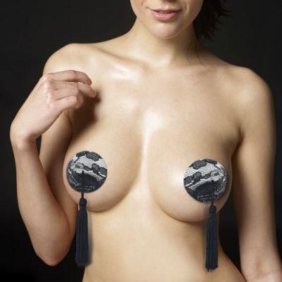 Пэстисы для груди Reusable Black Lace Round Tassel Nipple Pasties