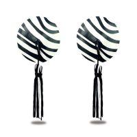 Пэстисы для груди Reusable Zebra Round Tassel Nipple Pasties