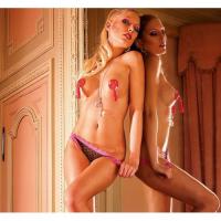 Черные трусики в сердечко с розовой кружевной отделкой L