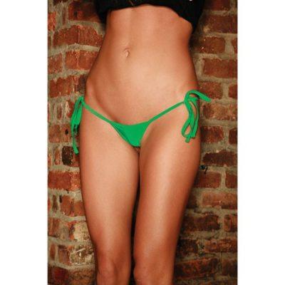 Неоново-зеленые V-стринги с завязочками по бокам