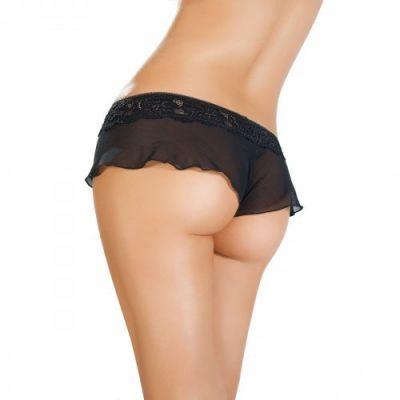 Эротические трусики-юбочка из стрейч-сетки черные р-р 50-52