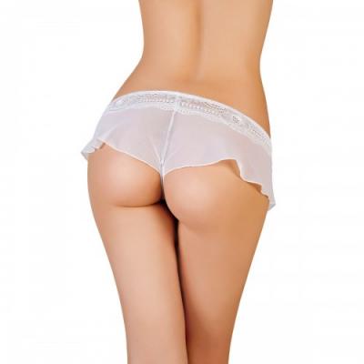 Эротические трусики-юбочка из стрейч-сетки белые р-р 42-44