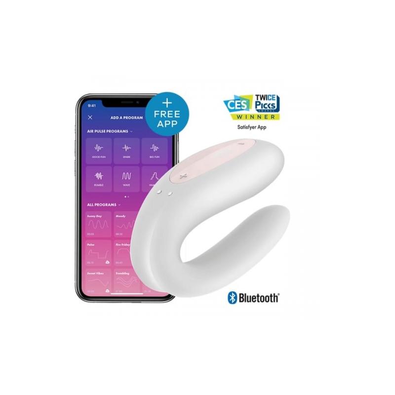 Стимулятор для пар Satisfyer Partner Double Joy с возможностью управления через смартфон белый