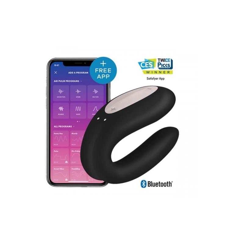 Стимулятор для пар Satisfyer Partner Double Joy с возможностью управления через смартфон черный
