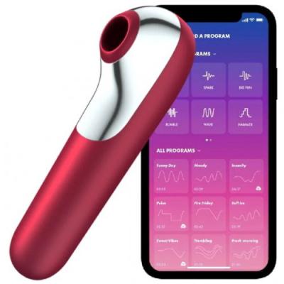 Клиторальный стимулятор + вибратор 2 в 1 Satisfyer Dual Love с управлением через смартфон бордовый