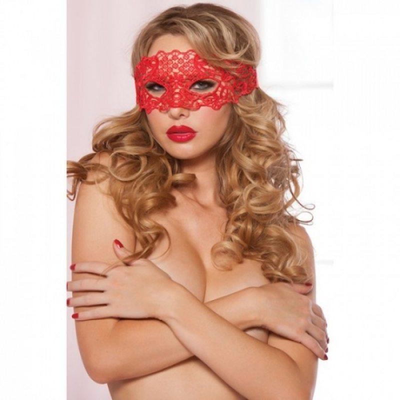 Ажурная красная маска на глаза