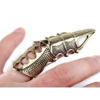Кольцо-коготь на весь палец золотистого цвета