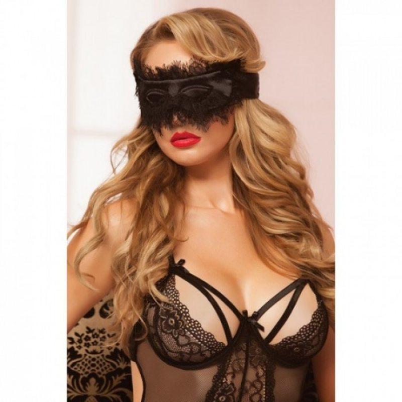 Черная мягкая маска на глаза с кружевом Lovely Lace