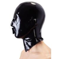 Черная латексная маска для головы с отверстием для рта