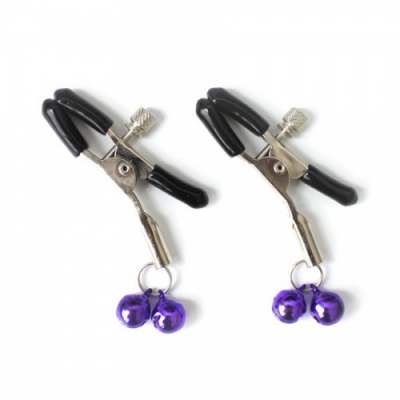 Зажимы для сосков с двойным бубенчиком фиолетовый