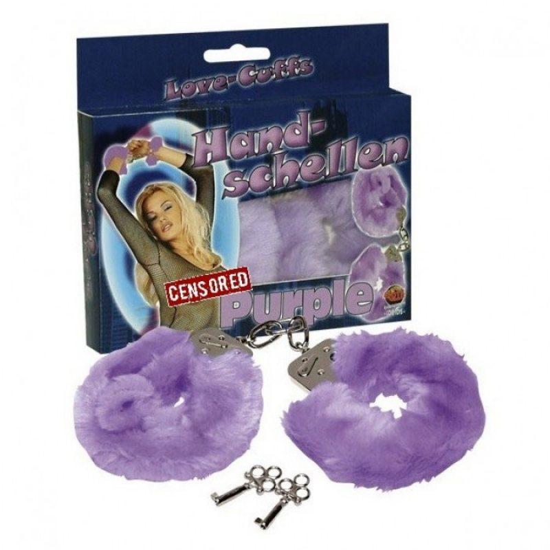 Наручники с мехом Hand schellen фиолетовые