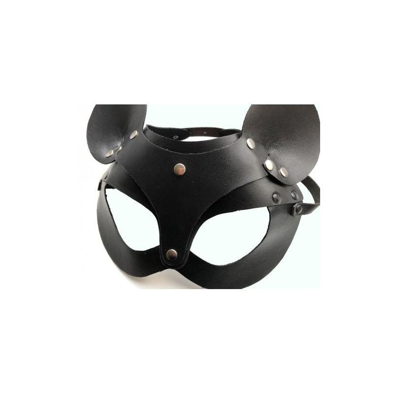 Кожаная чёрная маска со сменными ушками Hand Made