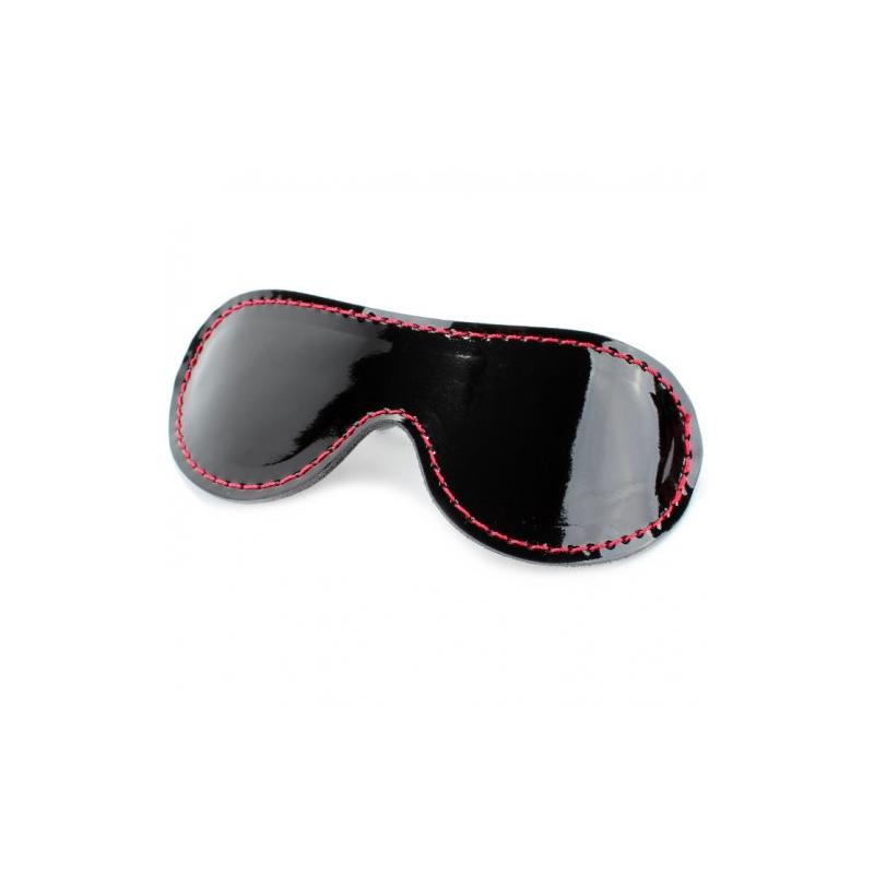 Маска на глаза из черной лаковой кожи с красным подкладом