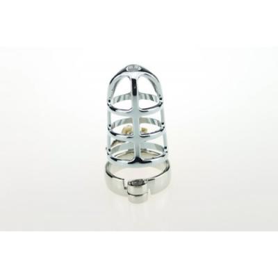 Мужской пояс верности серебристый диаметр запорного кольца 4,5 см