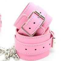 Бондажный набор наручники и поножи на цепях розовый