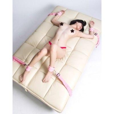 Набор для бондажа к кровати розовый