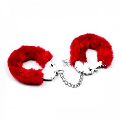 Красные металлические наручники с мехом Fetish Pleasure