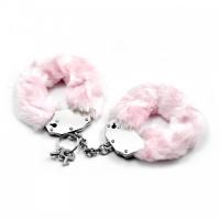 Розовые металлические наручники с мехом Fetish Pleasure