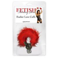 Металлические наручники с пухом FFS Feather Love Cuffs