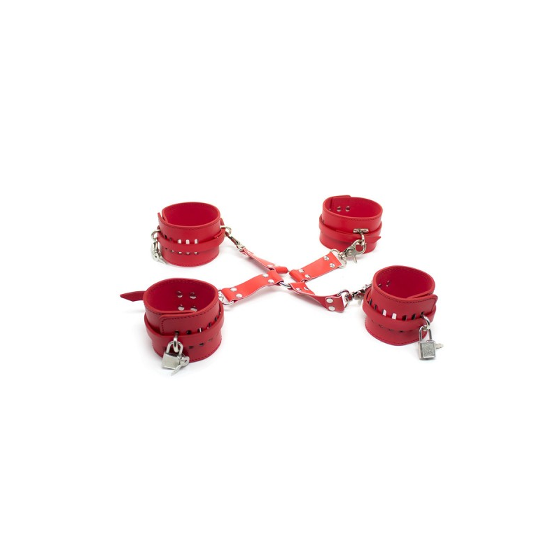 Бондажные наручники и поножи красные