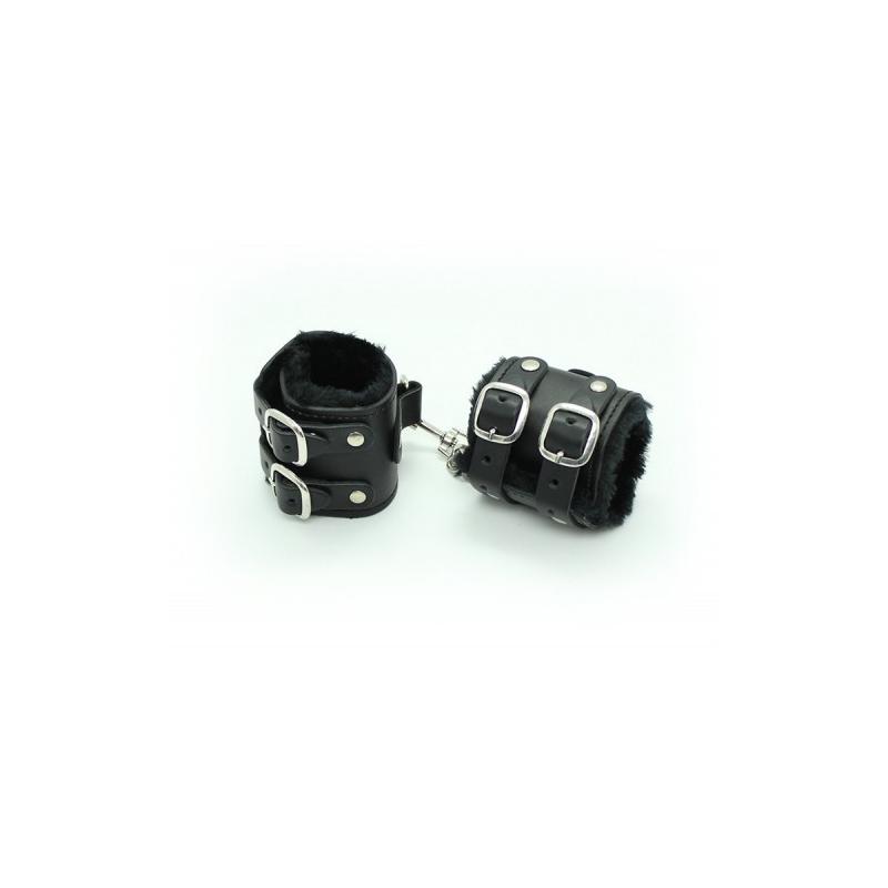 Широкие черные поножи с карабином
