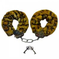 Металлические наручники с мехом леопардовые
