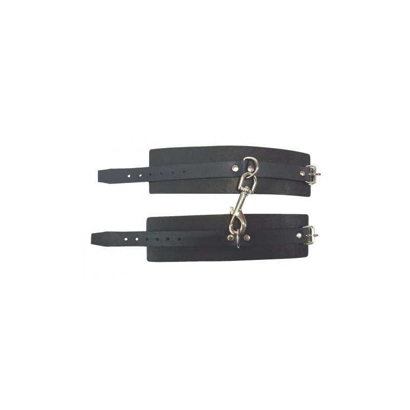 Черные наручники Hand Made из натуральной кожи