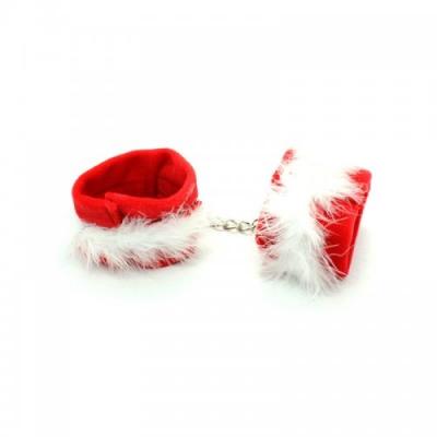 Красные плюшевые наручники с белым мехом