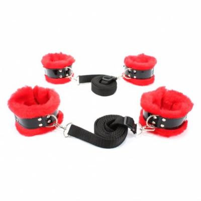 Набор фиксаторов на кровать с красным мехом