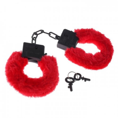 Пластиковые черные наручники с мехом