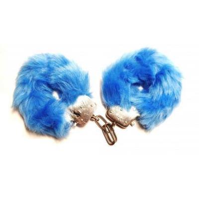 Металлические наручники с мехом голубые