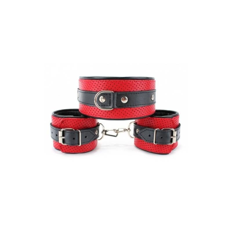 Набор из ошейника и наручников красно-черный