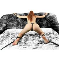 Набор черных фиксаторов на кровать с красной строчкой