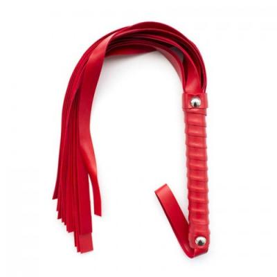 Мягкая кожаная плеть-флогер красного цвета